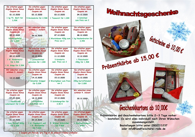 Adventskalender2020 © Landfleischerei Rode